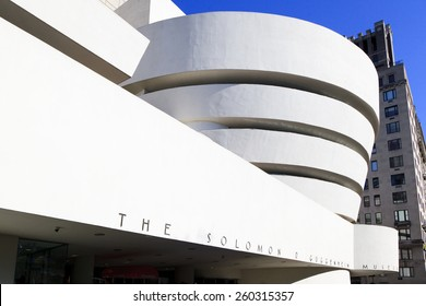 New York, NY, USA - June 7, 2014: Solomon R. Guggenheim Museum: The Solomon R. Guggenheim Museum is an art museum located at 1071 Fifth Avenue on the corner of East 89th Street in Manhattan