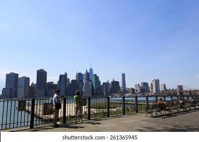 New York, NY USA - June 29, 2014: Manhattan: Manhattan skyline from Brooklyn Heights Promenade