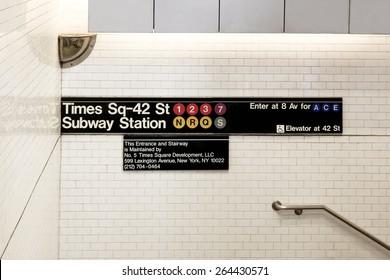 New York, NY, USA - June 7, 2014: Times Sq-42 St Subway Station: Times square subway station signs in Manhattan