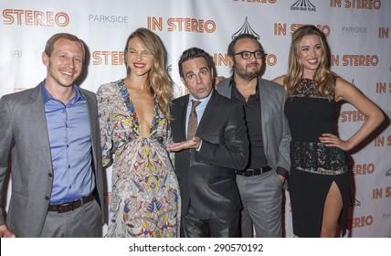 New York, NY, USA - June 24, 2015: (L-R) Micah Hauptman, Beau Garrett, Mario Cantone, Mel Rodriguez III, Melissa Bolona attend the New York premiere of 'In Stereo' at Tribeca Grand Hotel, Manhattan