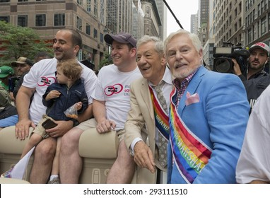 New York, NY USA - June 28, 2015: Sir Derek Jacobi and Sir Ian McKellen grand marshals of 46th annual Pride parade on 5th avenue in Manhattan