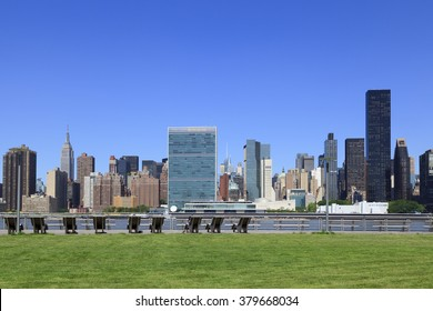 New, York, NY, USA - June 24, 2015 - United Nations Headquarters from Gantry Plaza State Park
