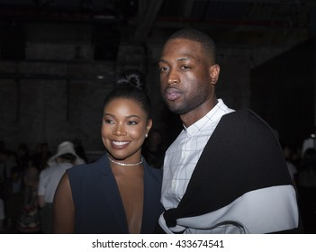 New York, NY USA - June 7, 2016: Gabrielle Union-Wade & Dwyane Wade attend PUBLIC SCHOOL Spring 2017 Fashion Show by Dao-Yi Chow & Maxwell Osborne at Cedar Lake