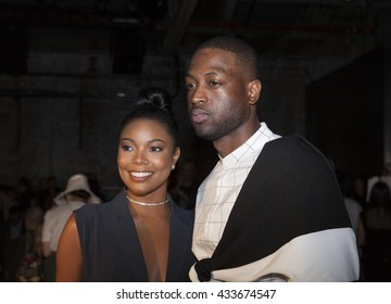 New York, NY USA - June 7, 2016: Gabrielle Union-Wade & Dwayne Wade attend PUBLIC SCHOOL Spring 2017 Fashion Show by Dao-Yi Chow & Maxwell Osborne at Cedar Lake