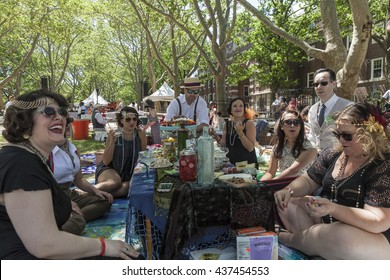 New York, NY USA - June 12, 2016: Atmosphere during 11th Jazz age lawn party with Dreamland Orchestra under Michael Arenella on Governors island