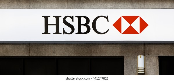 New York, NY, USA  - June 21, 2016: HSBC: :HSBC is a British multinational banking and financial services company headquartered in London, United Kingdom. It is the world's fourth largest bank.