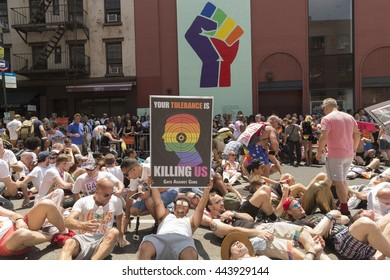 New York, NY USA - June 26, 2016: Atmosphere at 46th annual Pride parade to celebrate gay, lesbian and transgender community in New York city. Sit in to protest gun violence