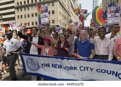 New York, NY USA - June 26, 2016: New York city council members march at 46th annual Pride parade to celebrate gay, lesbian and transgender community in New York city