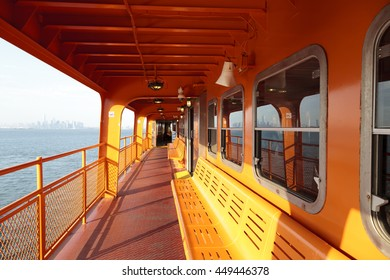 New York, NY, USA June 24, 2016: Seats of Staten Island Ferry: The Staten Island Ferry is a passenger ferry service operated by the New York City Department of Transportation.