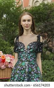 New York, NY USA - June 7, 2017: Model shows off dress for designer Lela Rose Resort 2018 collection presentation at Jefferson Market Garden