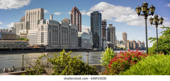New York, NY USA - June 3, 2017. East Side Manhattan Skyline and East River From Roosevelt Island