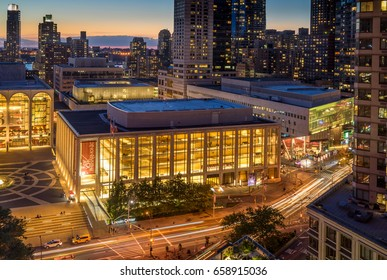 New York, NY USA - June 1, 2017. Sunset view of Lincoln Center Opera House, Alice Tully Hall and New York City skyline.