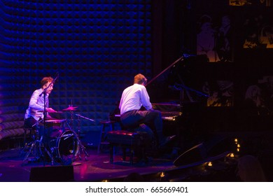 New York, NY USA - June 23, 2017: Marcin Masecki piano and Jerzy Rogiewicz drums perform at Joes Pub as part of Polish Jazztopad festival in New York presented by Polish Cultural Institute