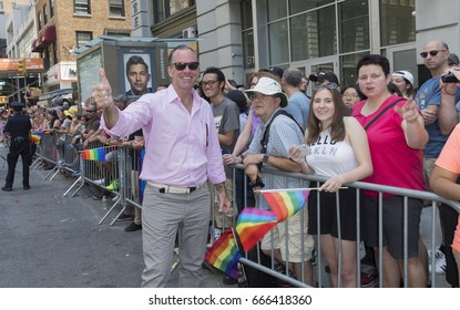 New York, NY USA - June 25, 2017: Mayoral Republican candidate Paul Massey attends 48th annual Pride parade along 5th avenue in New York