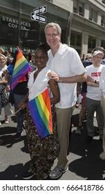 New York, NY USA - June 25, 2017: New York Mayor Bill De Blasio attends 48th annual Pride parade along 5th avenue in New York