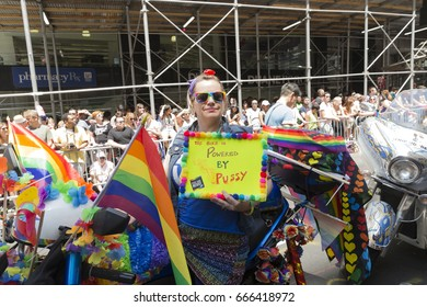 New York, NY USA - June 25, 2017: Atmosphere during 48th annual Pride parade along 5th avenue in New York