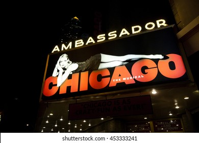 New York, NY, USA - Jyly 11, 2016: CHICAGO: Chicago is an American musical with music by John Kander, lyrics by Fred Ebb and a book by Ebb and Bob Fosse.