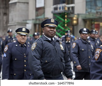 NEW YORK, NY, USA - MAR 16:  Police at the St. Patrick's Day Parade on March 16, 2013 in New York City, United States.
