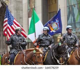 NEW YORK, NY, USA - MAR 16:  Mounted police at the St. Patrick's Day Parade on March 16, 2013 in New York City, United States.