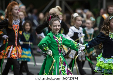 NEW YORK, NY, USA - MAR 17: St. Patrick's Day Parade along 5th Avenue on March 17, 2016 in New York City, United States.
