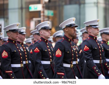 NEW YORK, NY, USA - MAR 17:  United States Marine Corps at the St. Patrick's Day Parade on March 17, 2012 in New York City, United States.