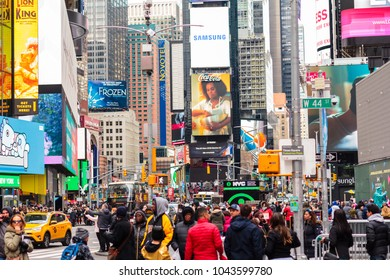 NEW YORK, NY / USA - March 10, 2018: View of crowd in Times Square.