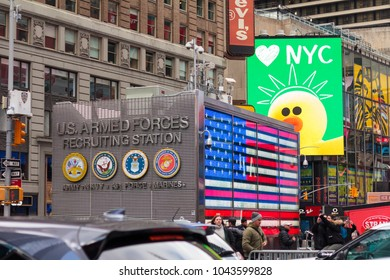 NEW YORK, NY / USA - March 10, 2018: U.S. Armed Forces Recruiting Station in Times Square.