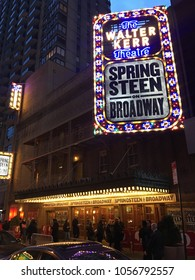 New York, NY, USA March 28, 2018 The marquee at the Walter Kerr Theater advertises Springsteen on Broadway during his year long sold out performance.