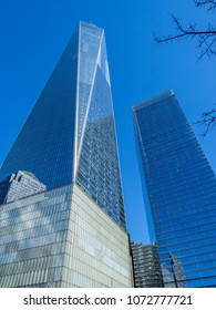 NEW YORK, NY, USA - March 30, 2018: The One World Trade Center or Freedom Tower, is the main building of the rebuilt World Trade Center complex in Lower Manhattan, New York City, USA.