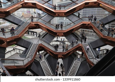 "New York, NY / USA - March 15, 2019: Celebrities and Politicians gathered to celebrate the grand opening of Manhattan's newest neighborhood, Hudson Yards, and it's centerpiece, ""The Vessel""."