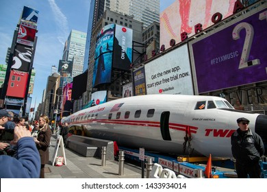 New York, NY, USA - March 24,2019. The iconic CONNIE airplane on Times Square in New York at spring