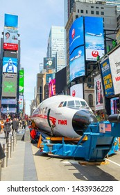 New York, NY, USA - March 24,2019. THE iconic CONNIE airplane is transforming into a cocktail lounge at the TWA hotel