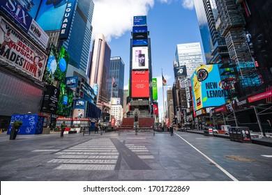 New York, NY / USA - March 29 2020: empty Times Square during coronavirus pandemic city lockdown