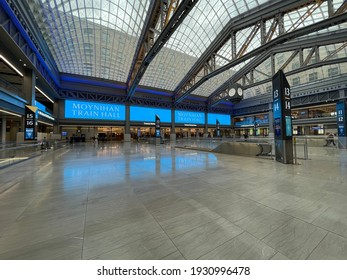 New York, NY  USA - March 1, 2021: New York City, Inside Newly Opened Moynihan Train Hall at Penn Station
