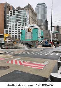 New York, NY  USA - March 1, 2021: New York City, St. Nicholas Greek Orthodox Church Under Construction Near World Trade Center