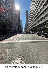 New York, NY  USA - March 10, 2021: New York City, Empty Streets During Last Months of Covid-19 Pandemic Crisis in Manhattan