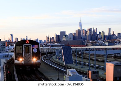 New York, NY, USA - March 11, 2016 : New York Subway: A subway train approaches at station.