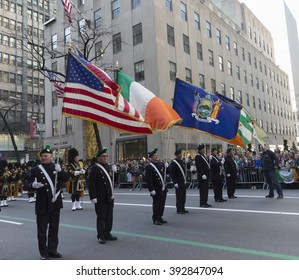 New York, NY USA - March 17, 2016: Atmosphere at annual St. Patrick's Day parade on 5th avenue in New York