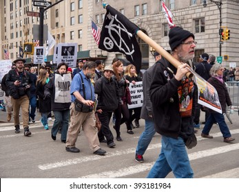 New York, NY, U.S.A. - March 20, 2016 - Documentary Editorial Image - - Anti-Trump protesters march along Central Park South to Trump Tower in New York City
