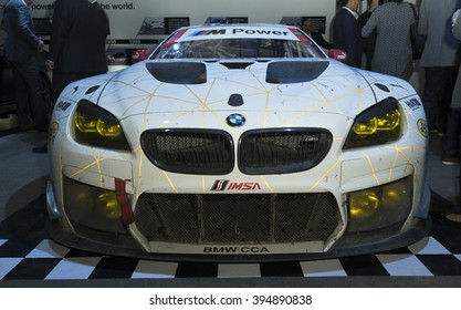 New York, NY USA - March 22, 2016: BMW M6 GTLM sport race car on display during BMW preview party celebrating company 100 years at New York International autoshow at Highline Stages