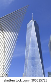 New York, NY, USA - March 22, 2016:1 World Trade Center with World Trade Center Transportation Hub: One World Trade Center is the tallest building in the Western Hemisphere.