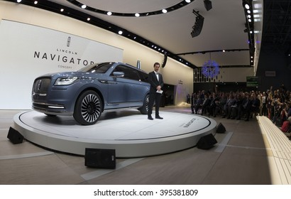 New York, NY USA - March 23, 2016: Matthew McConaughey unveils Lincoln Navigator concept car at New York International Auto Show at Jacob Javits Center