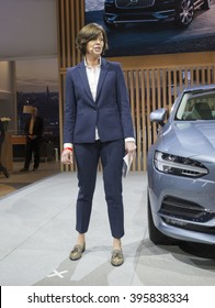 New York, NY USA - March 24, 2016: Bodil Eriksson unveiled Volvo S90 at New York International Auto Show at Jacob Javits Center