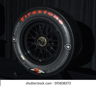 New York, NY USA - March 24, 2016: Commemorative Firestone Indy 500 tire by Bridgestone on display at New York International Auto Show at Jacob Javits Center