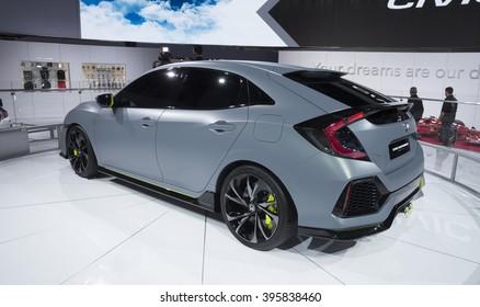 New York, NY USA - March 24, 2016: Honda Civic Hatchback on display at New York International Auto Show at Jacob Javits Center