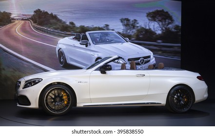 New York, NY USA - March 23, 2016: Mercedes C63 Cabriolet 2017 car unveiled at New York International Auto Show at Jacob Javits Center