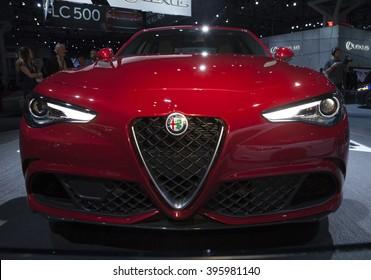 New York, NY USA - March 23, 2016: Alfa Romeo Giulia Quadrifoglio car on display at New York International Auto Show at Jacob Javits Center