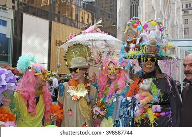 New York, NY USA- March 27, 2016: Participants in costume pose as a group for spectators during the Easter Bonnet Parade in New York City.