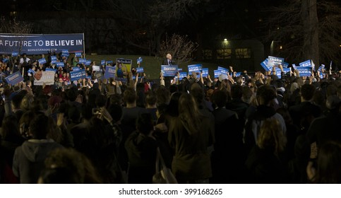 New York, NY USA - March 31, 2016: Senator Bernie Sanders speaks at campaign rally in the Bronx at Saint Mary park