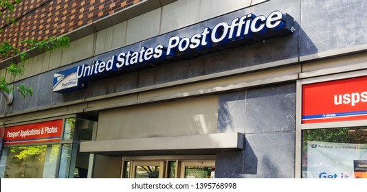 New York, NY, USA - May 8, 2019: Exterior of USPS office building in NYC. The United States Postal Service is responsible for global and domestic postal services.